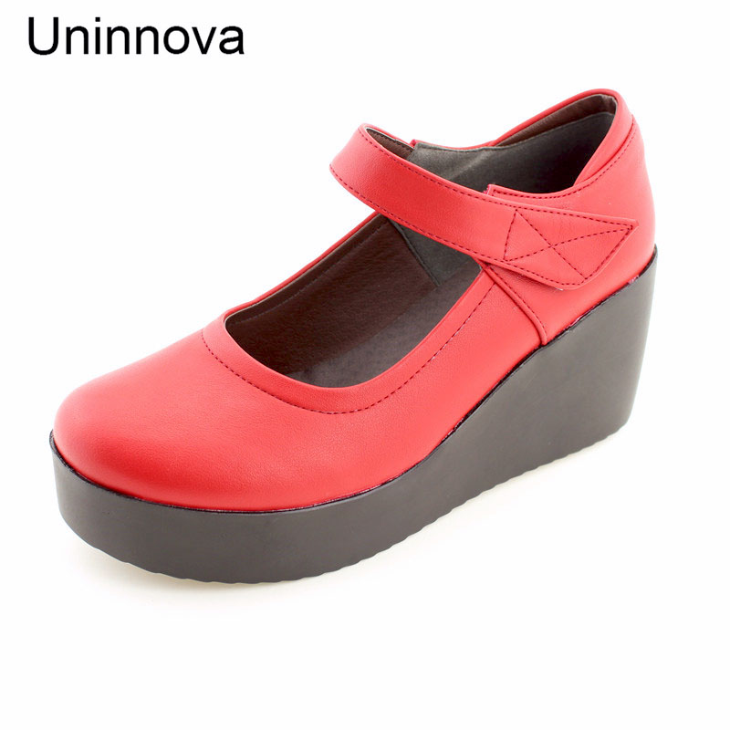 Women's Wedge Heels Classic Platform Mary Janes Shallow Lady Court Shoes  Microfiber Leather Shoes Plus Size 42 Uninnova WP050-