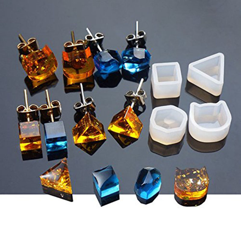 8Pcs Assorted DIY Earrings Silicone Mold Jewelry Pendant Bracelet Resin Casting Mould For DIY Craft Making