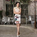 Shanghai Story Women Chinese Style Summer Cheongsam Short Sleeve 100% Nature Silk Cheongsam Dress Elegant Evening qipao Dress