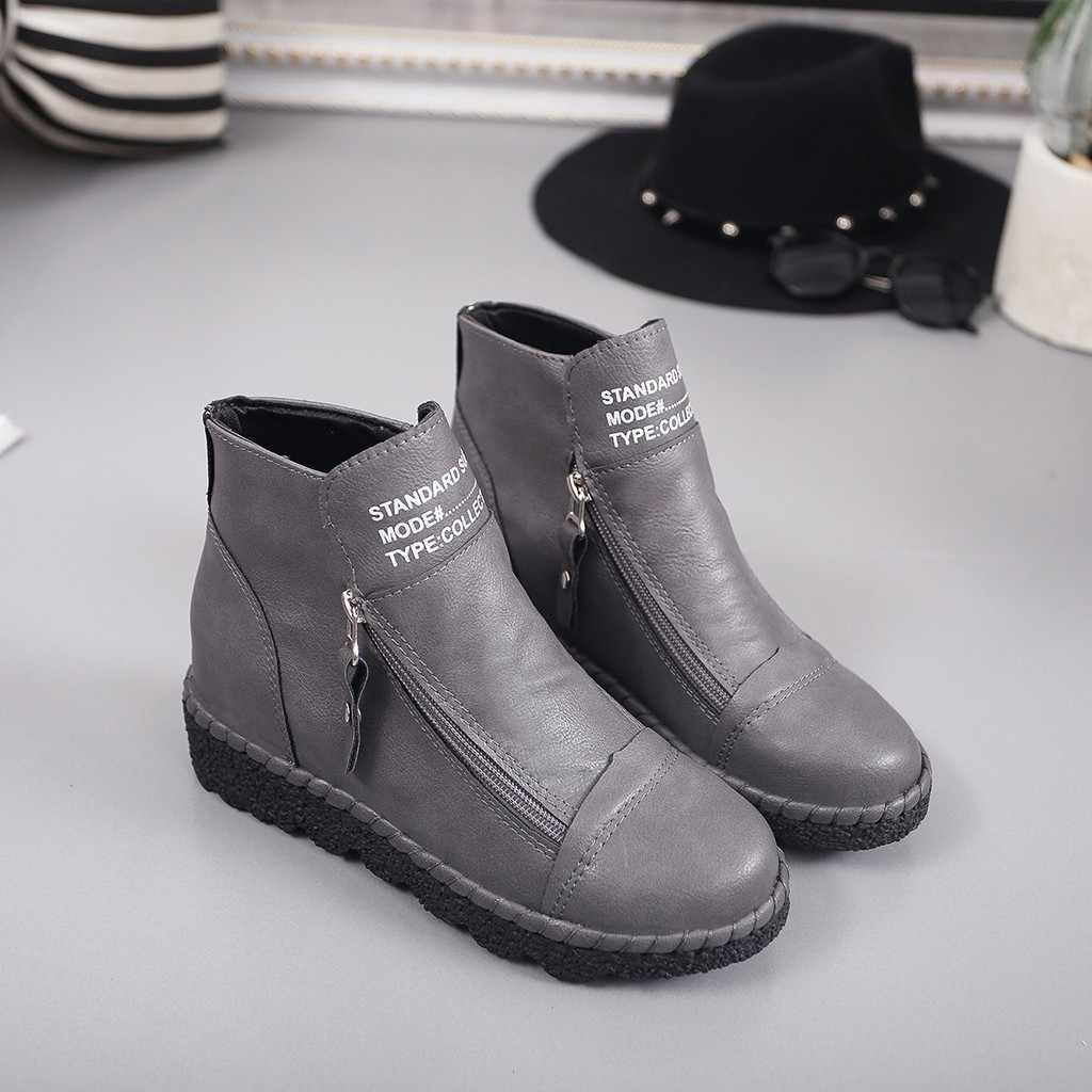 Kadın Retro çizmeler kış kısa çizme deri 2019 şık Vintage düşük topuk takozlar platformları ayak bileği ayakkabı Retro parti Botas rahat