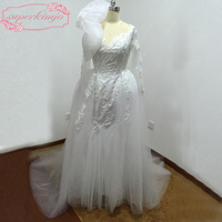 Actual Wedding Gowns Court Train Detachable Train Tulle Puffy Mermaid Long Sleeve Pearls Beading Wedding Dresses Real Picture