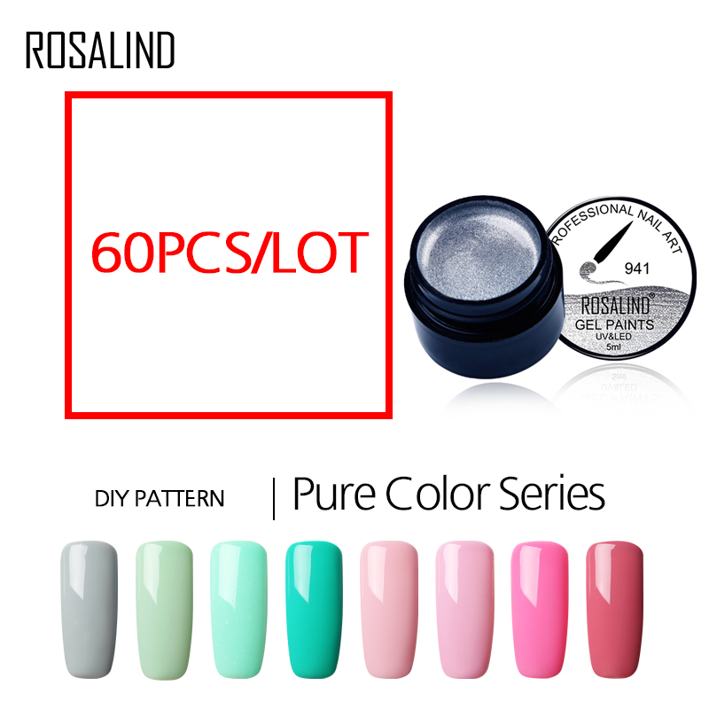 60PCS/LOT ROSALIND Pure Color Painting Nail Gel Free Shipping Can Be Soak Off UV LED Manicure Nails Art Gel Nail Polish