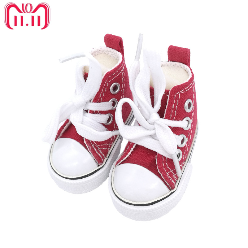 Tilda 6cm Canvas Sneakers For Dolls Paola Reina,Fashion Mini Toy Gym Shoes 1/3 Bjd Doll Sports Shoes Accessories for Dolls Toys canvas shoes for paola reina doll fashion mini toy gym shoes for tilda 1 3 bjd doll footwear sports shoes for dolls accessories