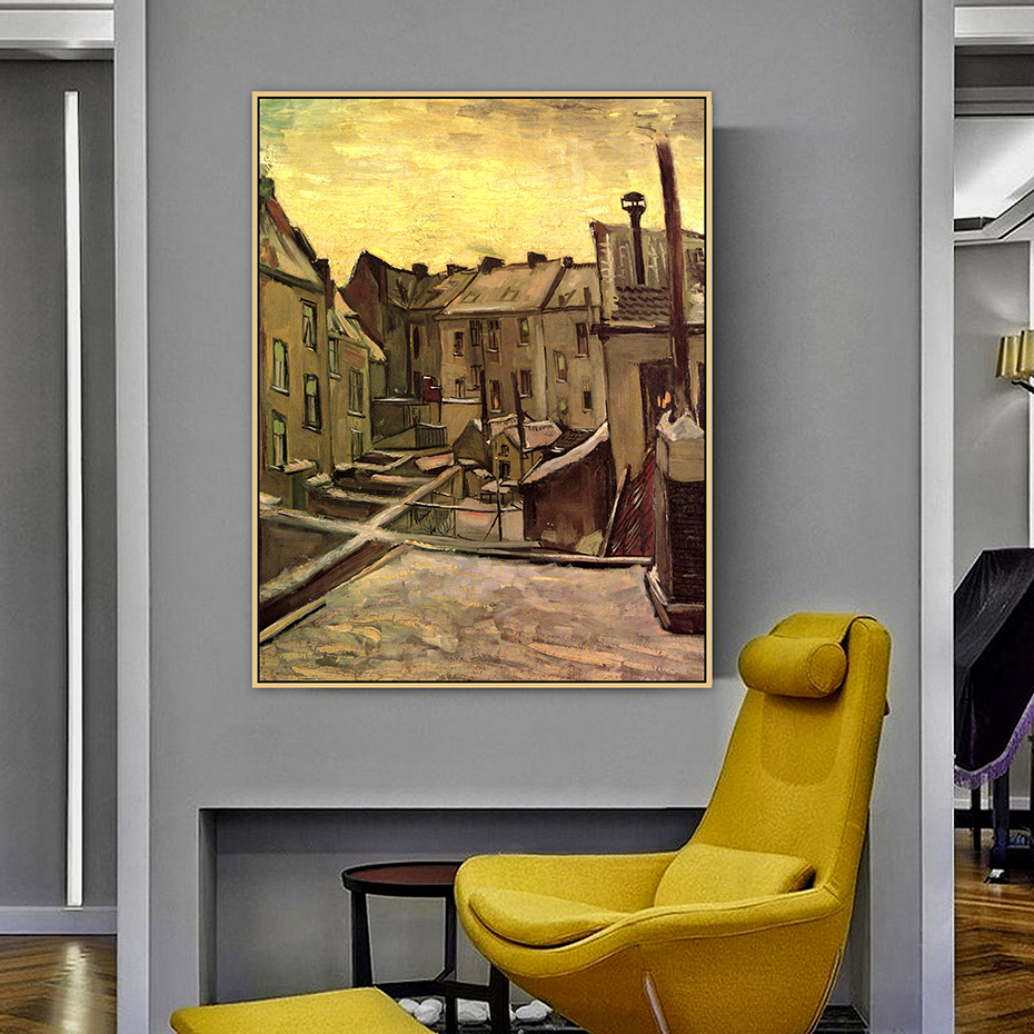 Backyards of Old Houses in Antwerp in the Snow Van Gogh Famous Master Artist Original Canvas Painting Print Room Wall Art Decor