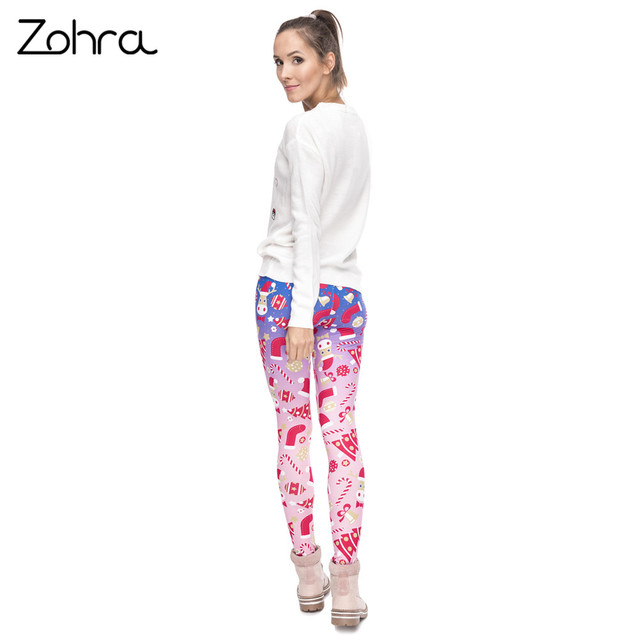 Zohra New Design Women Legging Christmas Symbols Ombre Printing Fitness Leggings High Waist Woman Pants 5