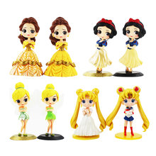 14cm Q Posket anime figure snow white princess doll Tinkerbell Sailor Moon Belle Action Figure model play house Toys for girls(China)
