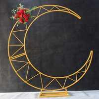 Золотой белый луна корабль металлический Железный Арка Декор Свадьба Стенд фон торт стенд полка полумесяц Свадьба Луна арка