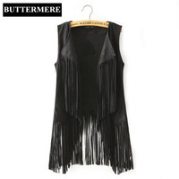 BUTTERMERE Brand Clothing Fringe Suede Vest Women Faux Leather Sleeveless Jacket Tassel Ethnic Waistcoat Black Brown Chalecos
