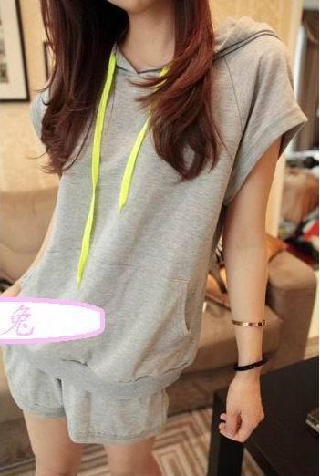 2013 summer twinset color block sports casual sweatshirt set short-sleeve