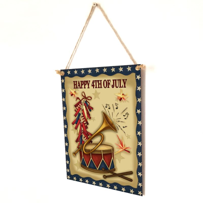 Image 4 - Rustic Wooden Happy Happy 4th Of July Sign Plaque Independence Day Room Home Decor Collection Gift-in Plaques & Signs from Home & Garden