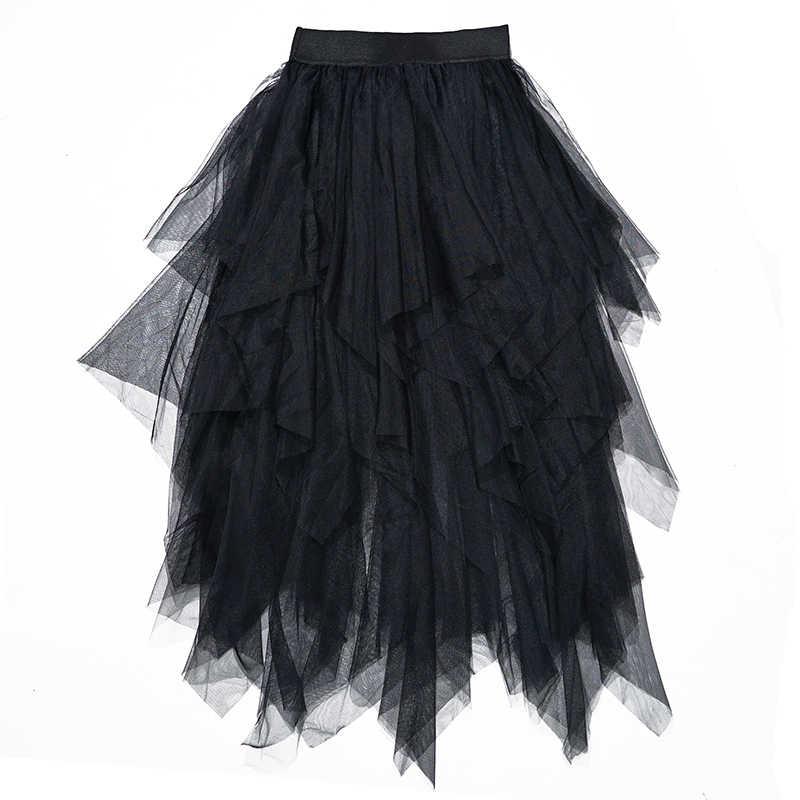Женские фатиновые юбки, s Faldas Mujer Moda, 2019, модные, эластичные, высокая талия, сетка, пачка, макси, плиссированная, длинная, миди, Saias Jupe, Женская юбка