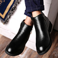 New Fashion Zip High Top Pointed Toe Western Men Boots With Fur British Style Winter Keep Warm cotton-padded Shoes For Men