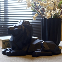 Lion Resin Model Crafts Ornaments Office Bar Lion Faith Sculpture Geometric Statue Animal Origami Abstract Art Decoration Gift