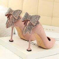 BIGTREE Luxury Brand Women 10cm Thin High Heels Crystal Pumps Pointed Toe Rhinestone High Heels Style Scarpins Lady Pink Shoes