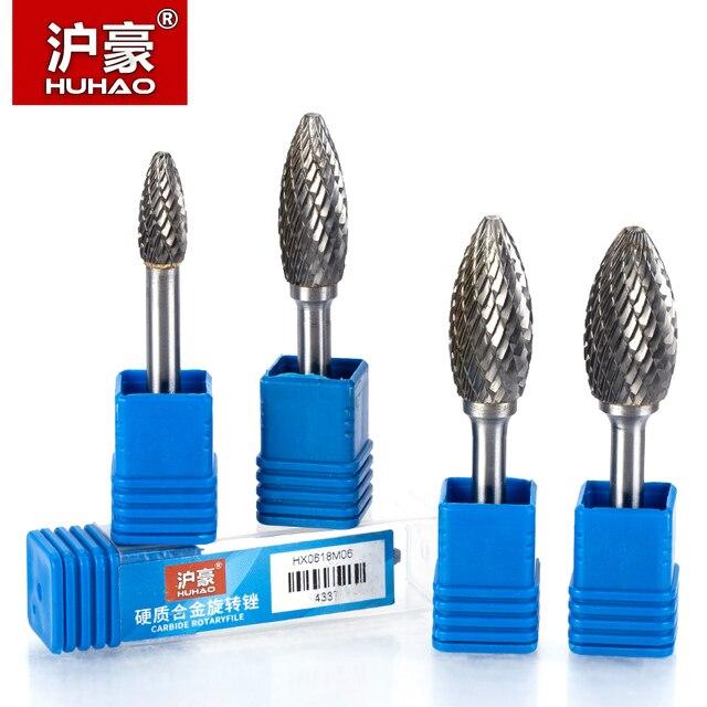 HUHAO 1pc 6mm tige tungstène acier coupe métal meulage sculpture fichier rotatif cylindrique routeur peu pour métal polissage H Type