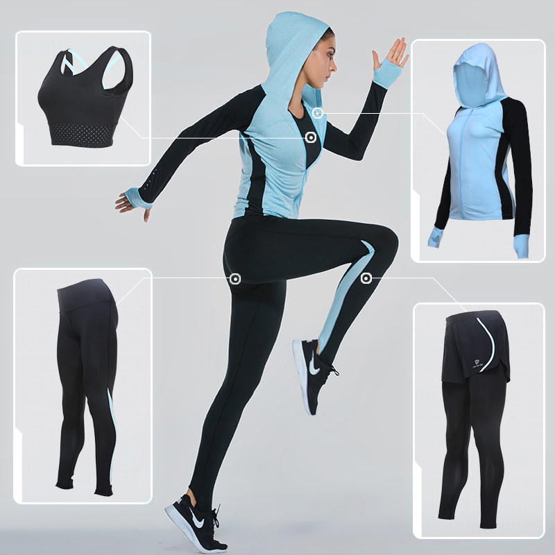 Vansydical Sports Clothing Yoga Sets Women's Sports Suits 4pcs Fitness Sportswear Training Running Set GYM Quick Dry Tracksuits 2017 new brand sports yoga set autumn long sleeved hoodie running fitness sports suits yoga clothing three piece women sweater