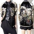 Mujeres de la chaqueta de bombardero chaqueta de lujo bordado cremallera chaquetas outwear moda parka abrigos básicos za otoño/invierno clothing