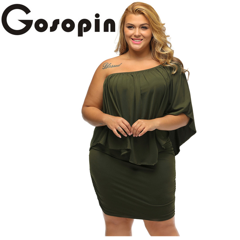 Gosopin Off Shoulder Dresses Plus Size Multiple Dressing Layered