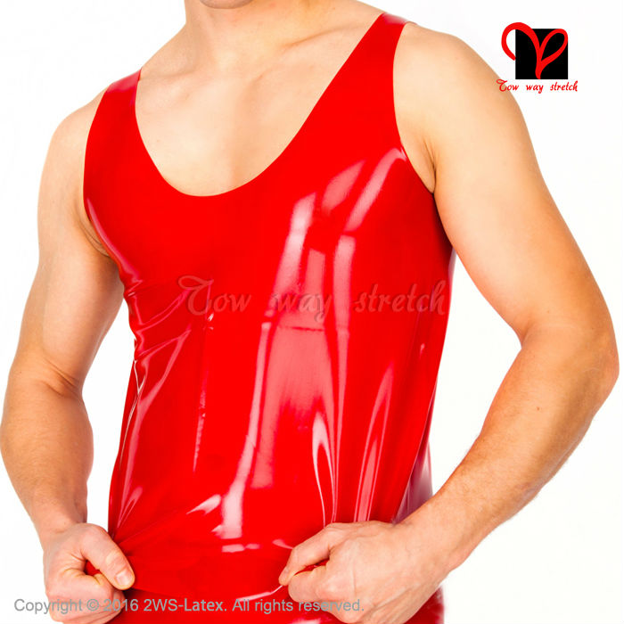 Sexy Black Latex Tank Sleeveless Shirt Muscle Rubber undershirts fitting tight Top classic Singlet plus size XXXL SY-014 image
