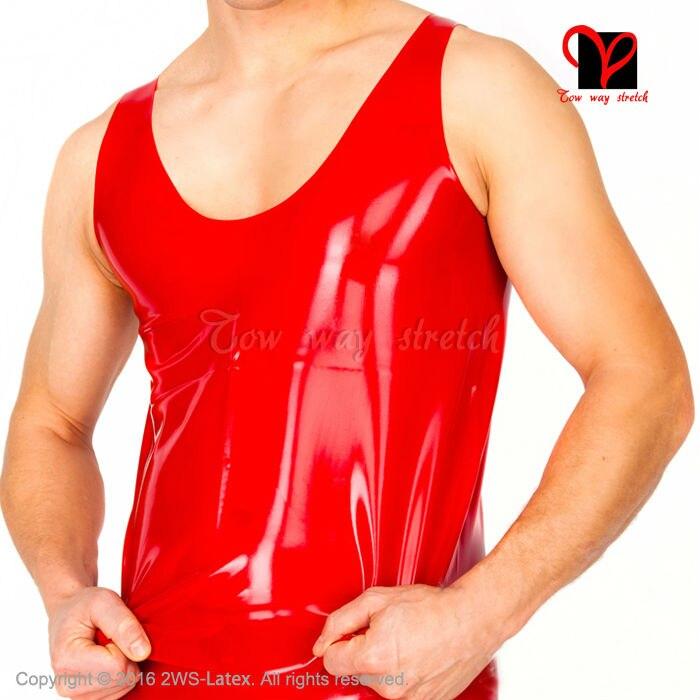 Sexy noir Latex réservoir chemise sans manches Muscle caoutchouc maillots de bain raccord haut moulant classique Singlet grande taille XXXL SY-014