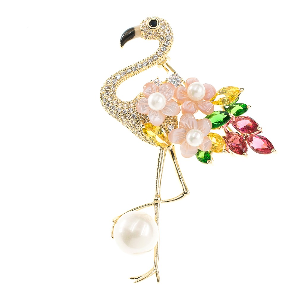 Crystal Cubic Zirconia Flamingo Bird Brooch Broach Pin Pendant Women Jewelry Accessories for Thanksgiving Gift XR03911 delicate rhinestone blue resin retro bird brooch for women