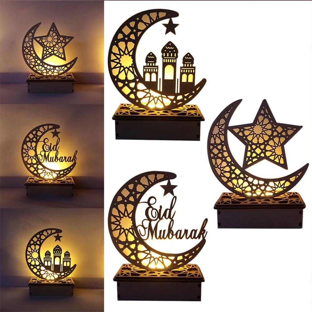 LED Wooden DIY Lamp Festival Palace Decorative Light For Muslim Islam Eid Mubarak Ramadan