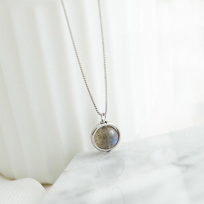 Genuine S925 Sterling Silver Labradorite Pendant Necklace For Women Fine Jewelry Nature Gemstone Handmade Bijoux Femme YNC061