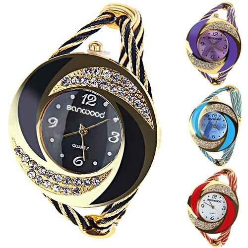 Fashion Women Round Crystal Rhinestone Decorated Bangle Cuff Analog Quartz Bracelet Watch 1EFJ women steel bangle wrist crystal round dial analog digital bracelet watch new hot selling