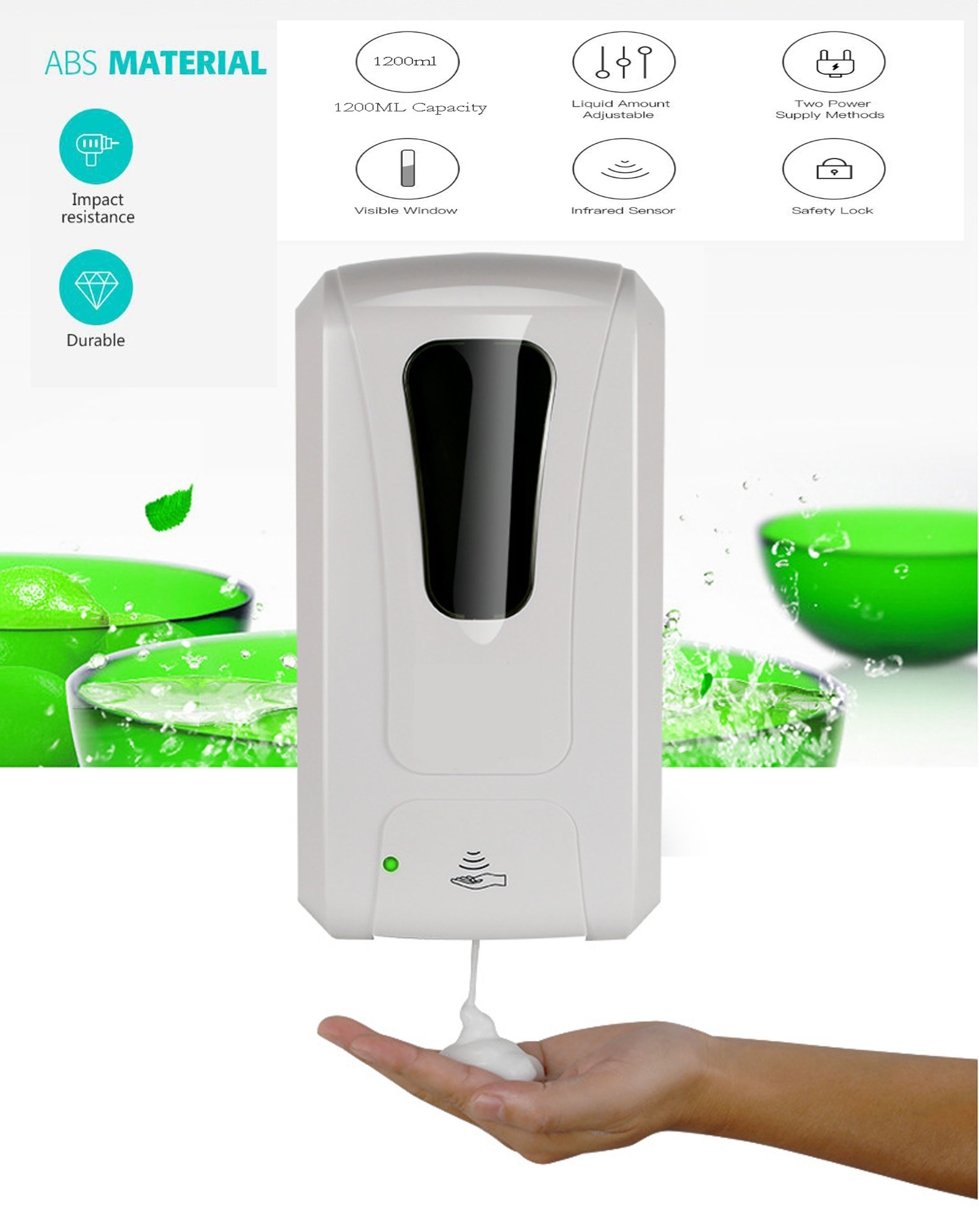 Wall Mounted Sensor Touchless Automatic Foam Soap Dispenser Bathroom Infrared Induction Smart Foam Soap Dispenser 1200ml