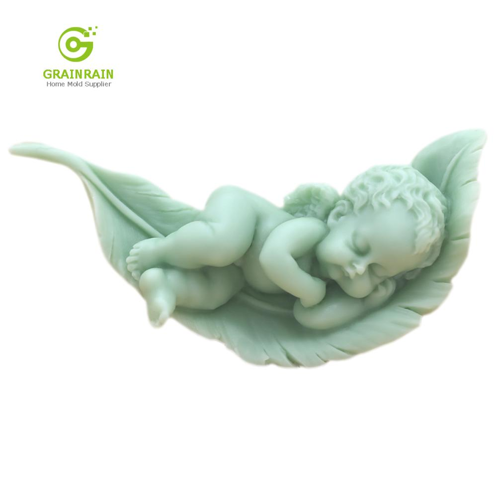 Grainrain Baby Sleeping On The Leaf Soap Mold Angle Soap Making Tools Diy Craft Boy Silicone Molds