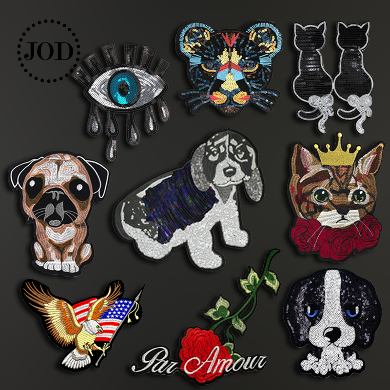 Large Embroidery Sequined Iron on Patches for Clothing Decorative DIY Clothes Patch Applique Fabric Sew on Sticker Badges Big in Patches from Home Garden