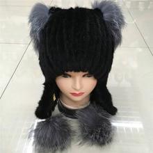 2016 new mink earmuffs warm winter knit hat