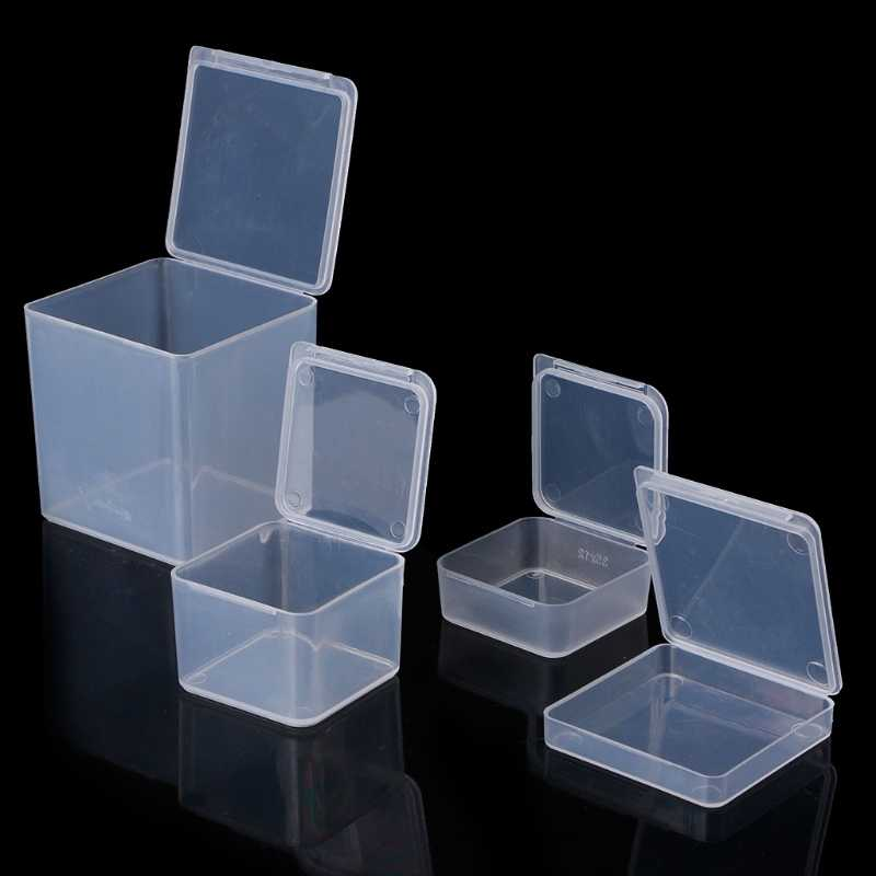 Plastic Square Clear Plastic Containers Jewelry Beads Storage Ring Box earrings Case necklace Organizer Woman Make-up Table Box