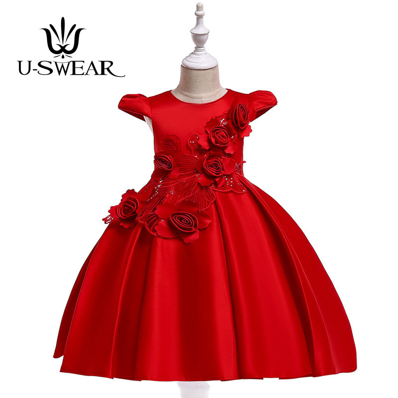 U-SWEAR 2019 New Arrival Kid   Flower     Girl     Dresses   O-neck Short Sleeve Lace   Flower   Appliqued Sequined Ball Gown Vestidos