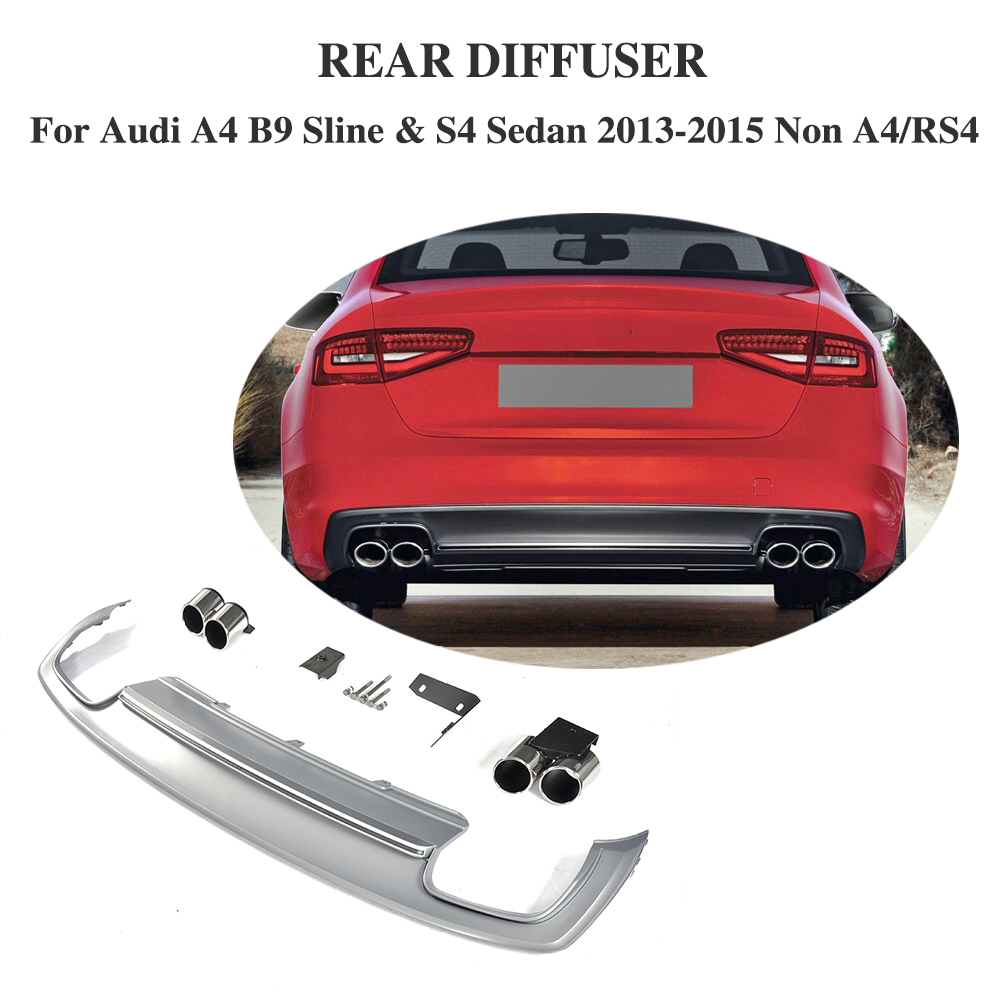 PP Car Rear Diffuser Lip Bumper Protector With Exhaust Muffler For Audi A4 B9 Sline S4 Sedan 4 Door Non A4 RS4 2013-2015 free ship rear door of high quality acrylic moving led welcome scuff plate pedal door sill for 2013 2014 2015 audi a4 b9 s4 rs4