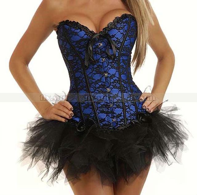 Azul del cordón Burlesque Overbust corsé ata para arriba Bustier Sexy Lingerie + tutú de la falda sml XL 2XL