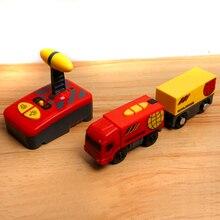 W05 Livraison gratuite télécommande magnétique électrique locomotive compatible Thomas en bois piste rouge dans le monde entier train