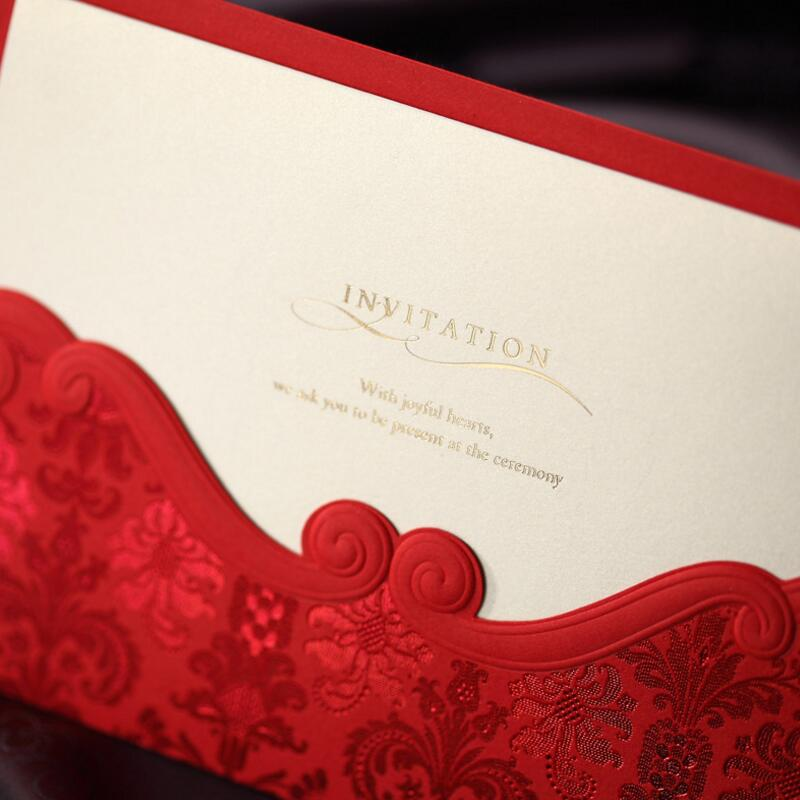 50pcs/pack Free Shipping Elegant Classic Exquisite Flower Decoration Red Wedding Invitation Cards with Envelope Free Print