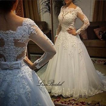 Vestidos de Noche fantástico vestido de novia largo 2017 cuello barco manga...