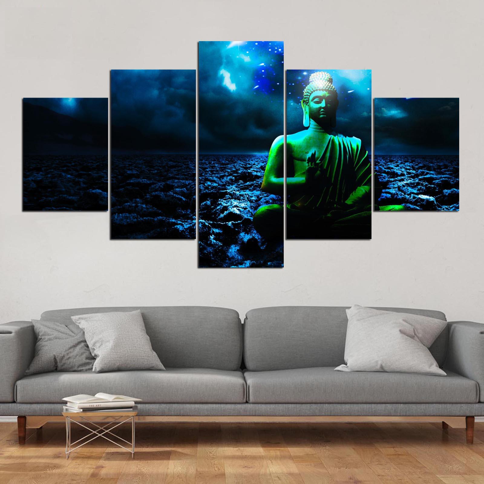 3-4-5 Stykker Buddha Fredsmaleri på lærred Rumdekoration Print - Indretning af hjemmet