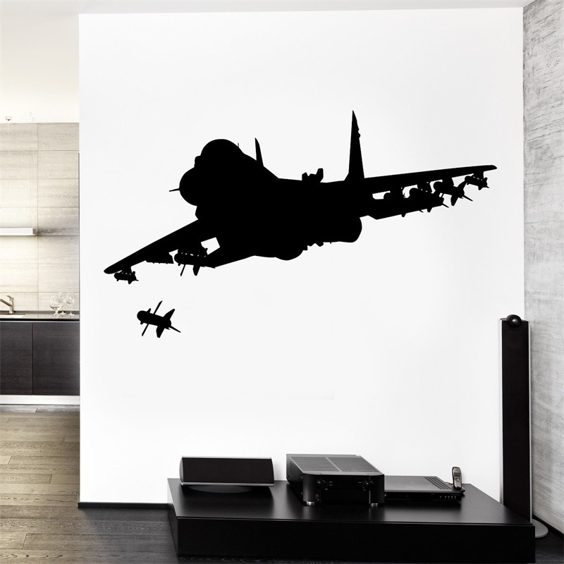 Wall Vinyl Jet Fighter Firing Missile Guaranteed Quality Decal