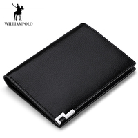 WilliamPOLO Men Wallet Short Bifold Credit Card Holder Genuine Leather Organizer Slim Multi Card Purse Vertical Horizontal New