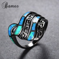 Personality Great Wall Pattern Blue Fire Opal Rings For Women Men Black Gold Filled Wedding Party