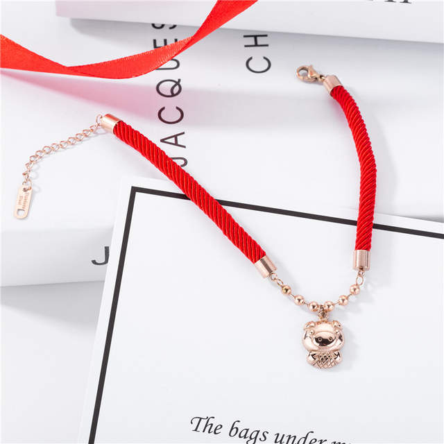 83d653d9b7f18 US $6.29  Red Charm Bracelet Female Titanium Steel 18k Rose Gold Plated  Bangle Lucky Pig Handmade Jewelry-in Charm Bracelets from Jewelry & ...