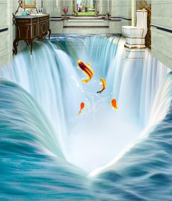 3d Stereoscopic Wallpaper Custom 3d Floor Tiles Great Falls Water