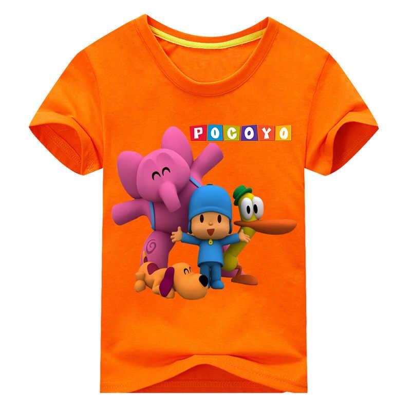 Crianças Summer Manga Curta Dos Desenhos Animados Pocoyo Traje Da Menina do Menino de Impressão T-shirt Roupas Para Crianças Camisetas Tops Branco Tshirt Roupas DX049