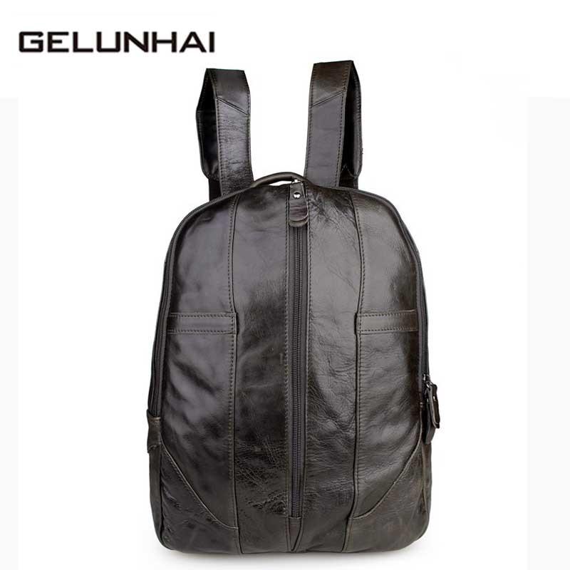 2017 Kpop Mochila Escolar Mochila Feminina Backpack Boy First Layer Cow Leather Backpacks Bag College Student Casual Laptop 14