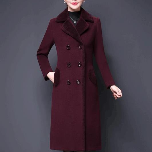 De Plus D'âge Tempérament Femmes 4xl purple Laine Chaud Moyen Manteau Vestes Brown Pardessus M Élégant D'hiver Nouveau Épais 6Rw7q