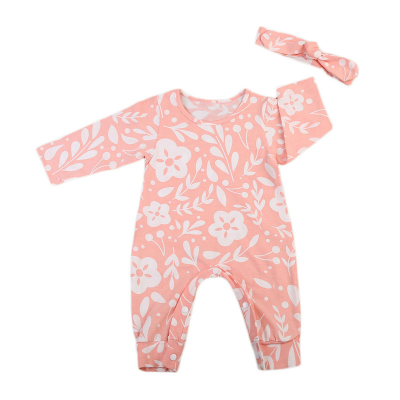 Cute 2PCS Newborn Baby Girl Clothes 2017 Autumn Long Sleeve Floral Print Pink Romper Jumpsuit+Headband Outfit Children Clothing 2017 floral baby romper newborn baby girl clothes ruffles sleeve bodysuit headband 2pcs outfit bebek giyim sunsuit 0 24m