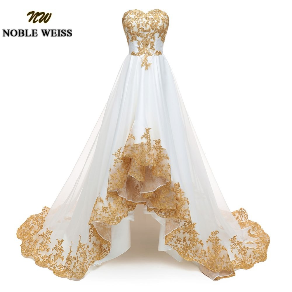 NOBLE WEISS Gold Appliques Evening Dress Strapless High Low Prom Dresses Organza Prom Gown Custom Made